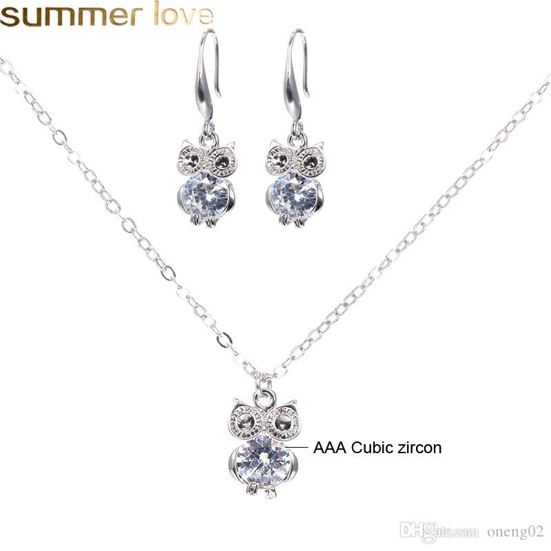 16 Styles Jewelry Sets For Women Cubic Zircon Pendant Necklace Earrings Cute Dancer Girl Owl Star Charm Necklace Earing Set fo Fashion Lady