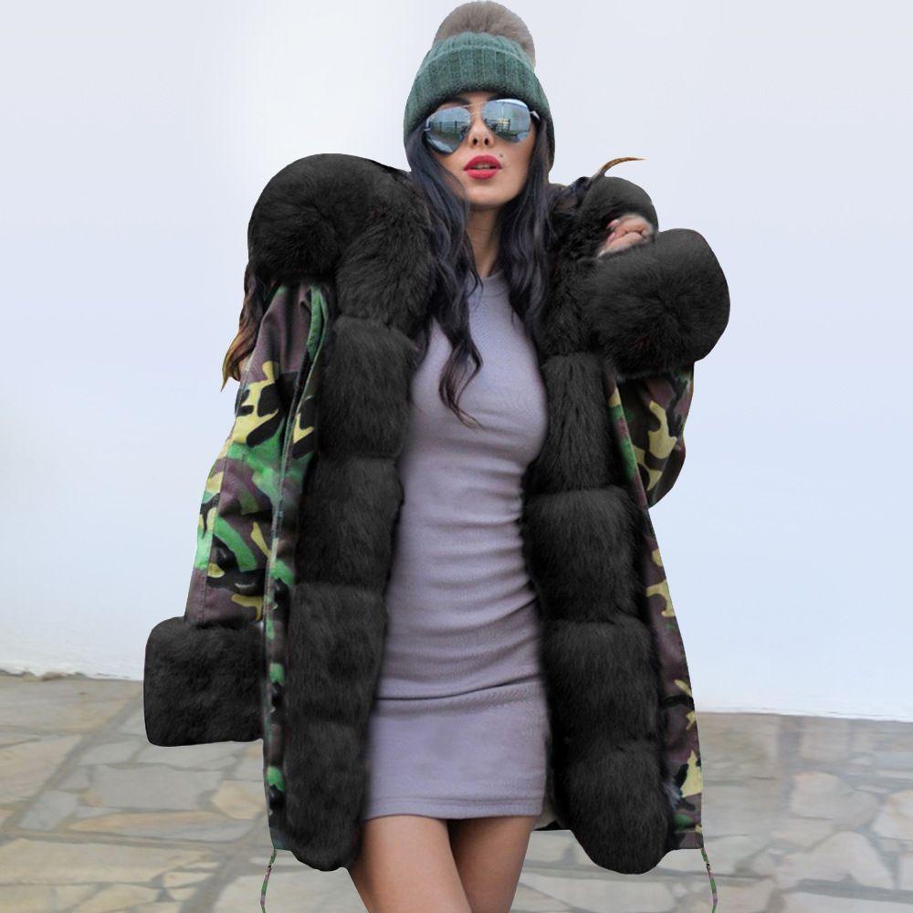 2019 Hiver chaud Femmes Camo Pur parkas Manches longues taille Définie Lacets capuche Manteaux Slim dames épais Manteaux Manteaux longs