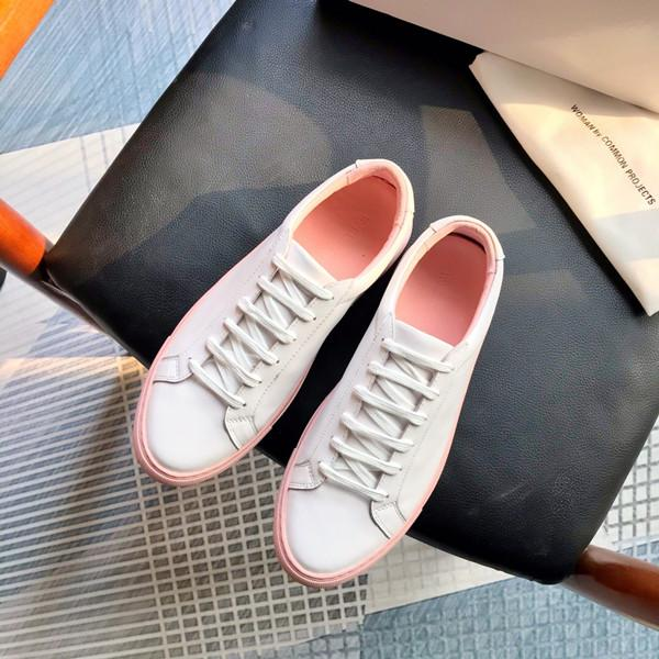 2020 New White Achille Rose bas chausse Sneakers en cuir véritable Chaussures Casual Femme Homme Flats Chaussure A11