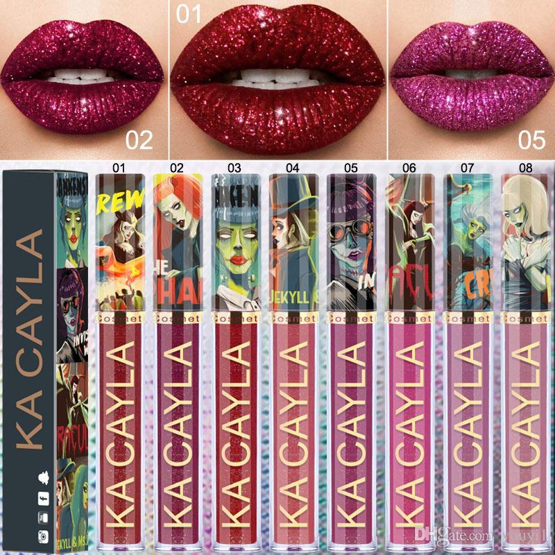 KA CAYLA Cosméticos de Halloween del brillo del tirón del metal Lipgloss Lipgloss Destello metálico del lápiz labial 8 colores de labios Cosméticos