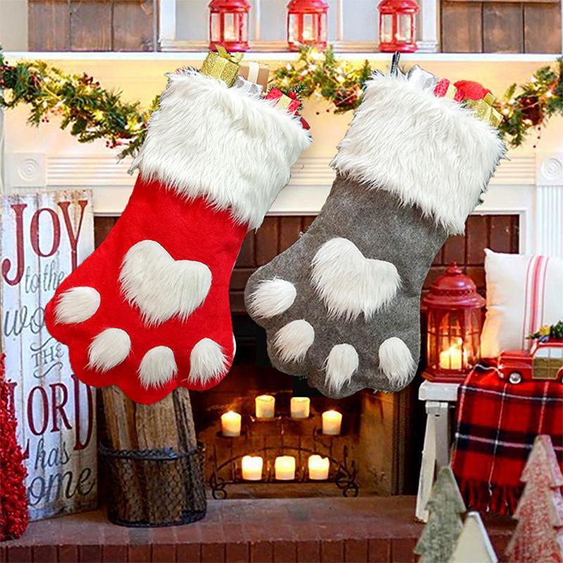 Новогоднее украшение собак Paw Носок мешок подарков Красный Серый Рождественский чулок Non Woven конфеты мешок Рождественская елка Xmas подарков VT0754