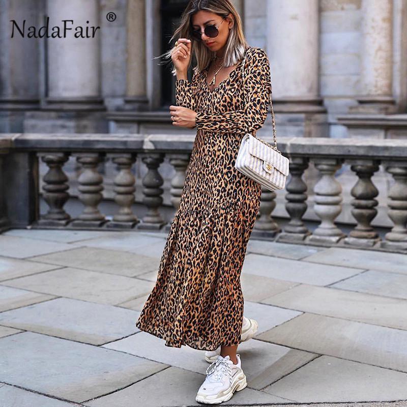 Langes dünnes Weinlese-Midi-Leopardkleid Vestidos der Großhandelsfrauen lange Tierleopard-Druckkleid elegantes Patchwork V-Ausschnitt
