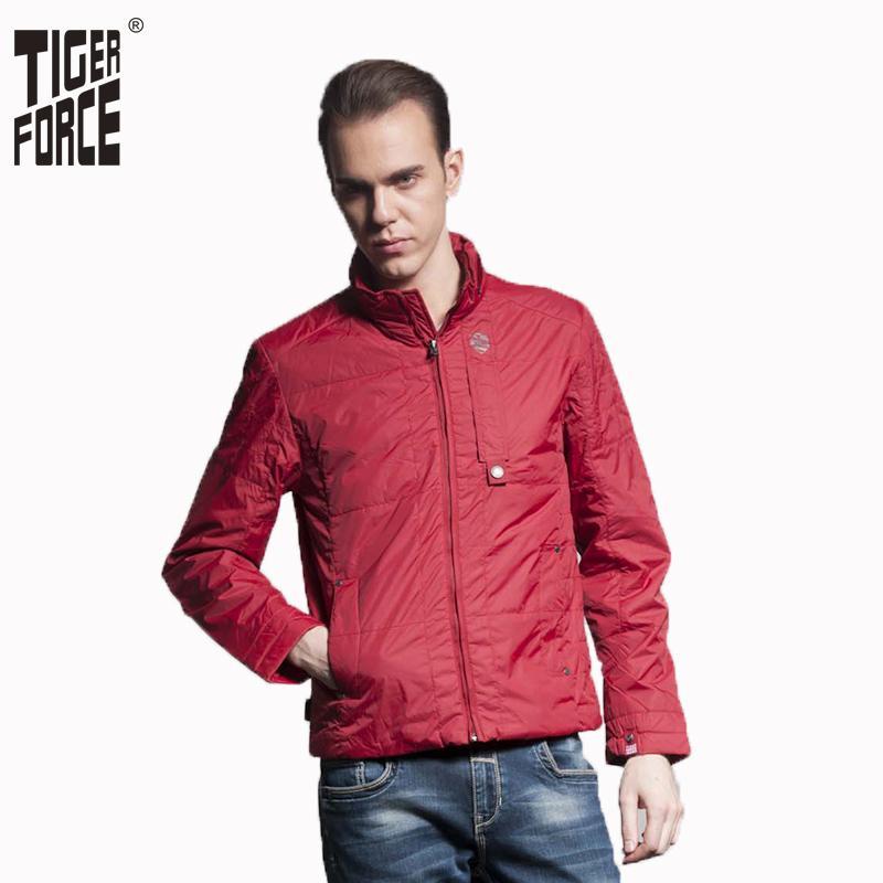 TIGER FORCE 2016 высокого качества способа людей вскользь полиэстер телогрейке весна тонкий пальто куртки Red Black Бесплатная доставка 51012
