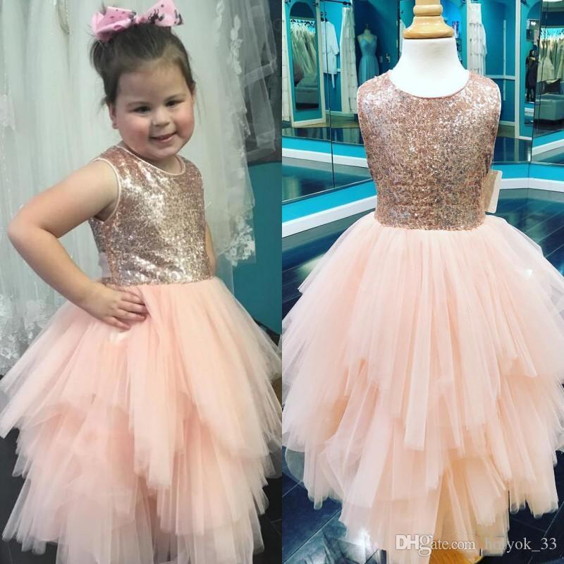 Jewel cou Paillettes blush rose Fleur Filles Robes ruché Tiered Tulle ligne Little Girls anniversaire Pageant Dress
