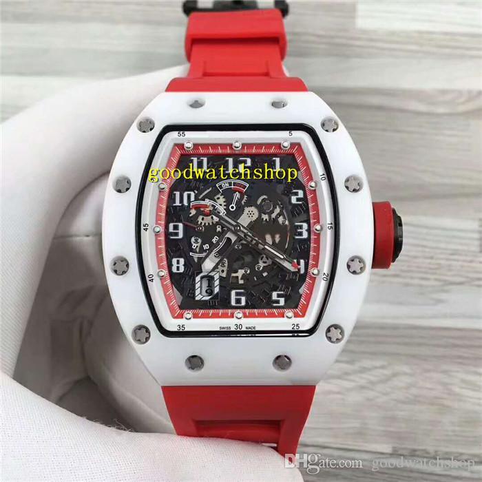 Pulseira de borracha New RM030 relógio de cerâmica relógio de relógios esqueleto suíça Automatic Mechanical 28800 vph Sapphire Data Power Reserve Red
