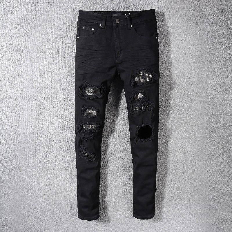 Yeni Erkek Jeans Erkek Fermuar Jeans Ripped Denim Pantolon Erkek Yüksek Kalite Biker Pantolon Boyut 28-42