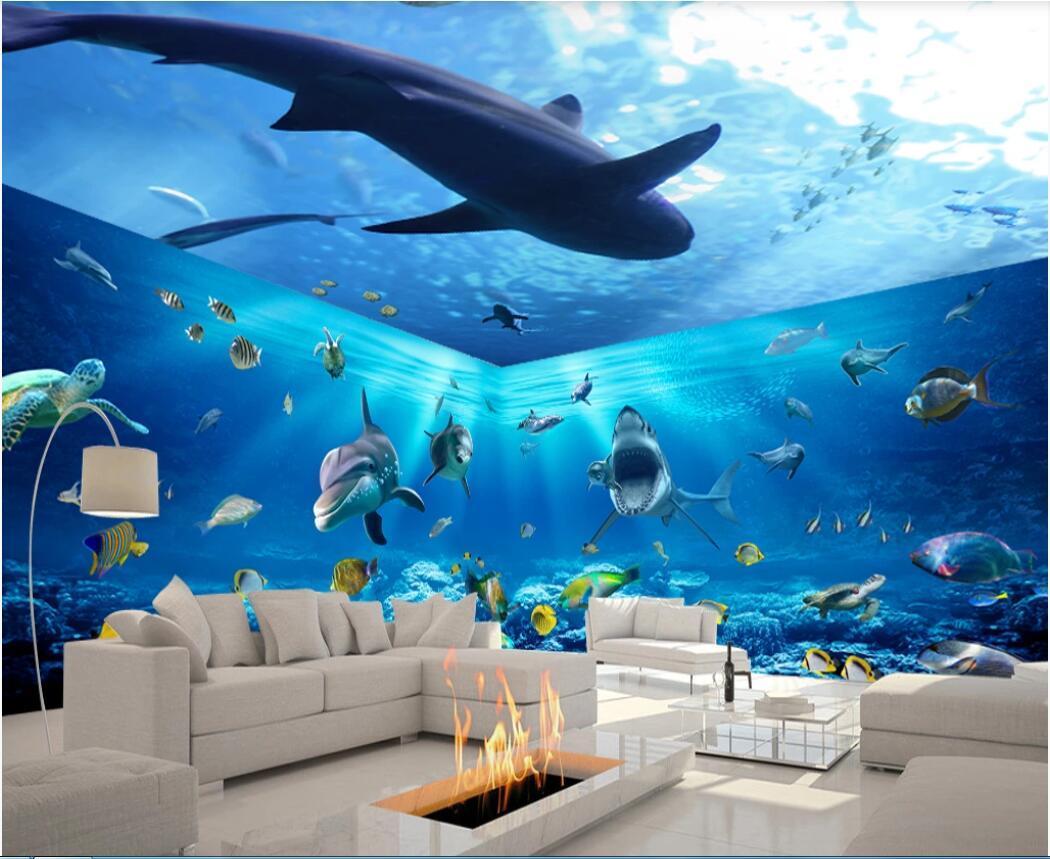 3d fondo de pantalla personalizado foto murales magnífico mundo submarino Shark 3D temáticas espaciales fondo de la pared la pared del arte fotos