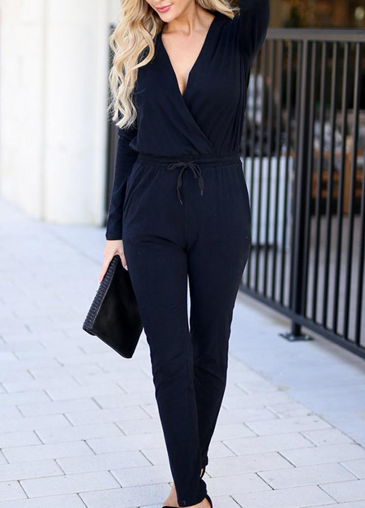 Jumpsuit Causal Overalls For Women V-neck Pure Color Rompers Womens Jumpsuit Fashion Knit Jumpsuits For Women 2018 Playsuit