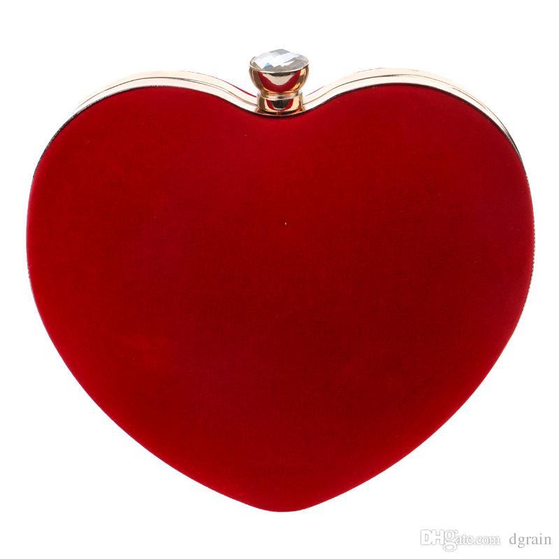 Hot Red Fuchsia Herz Frauen Abend Geldbörse Minaudiere Clutch Bag Ganze Verkauf Braut Hochzeit Kupplungen 2019 Designer Hochzeit Kette Handtasche