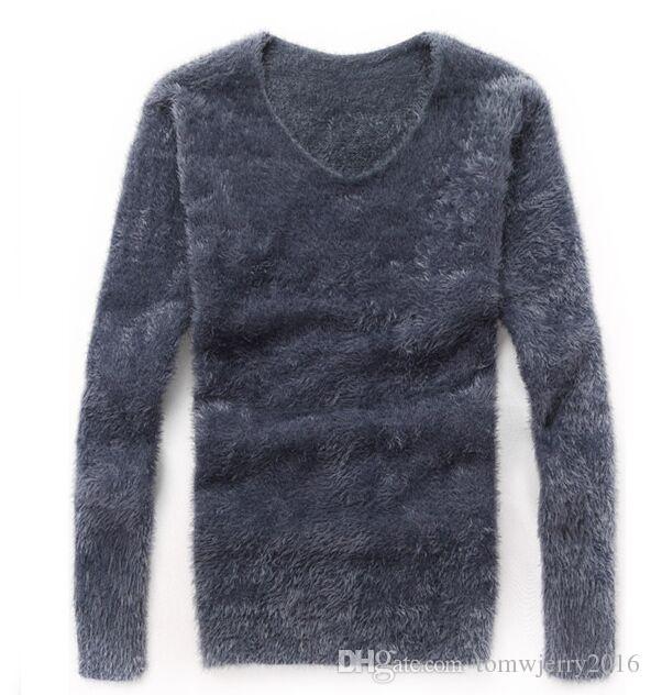 Neue heiße herbst winter frühling herrenbekleidung männlichen modischen dünnen v-ausschnitt pullover mohair pullover bodenbildung shirts männer casual tops m-3xl