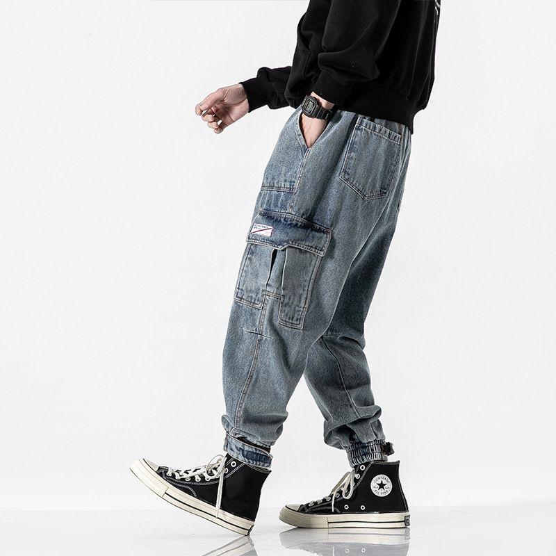 Men's Jeans Japanese Vintage Fashion Men Loose Fit Big Pocket Cargo Pants Elastic Waist Streetwear Designer Hip Hop Joggers