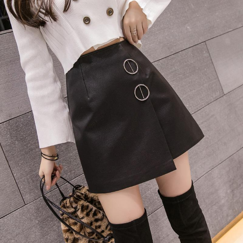 Piel S-2XL Negro mini falda de las mujeres para el otoño invierno 2019 de talle alto de la PU de la falda de las mujeres del resorte delgado irregular Negro Jupe Femme