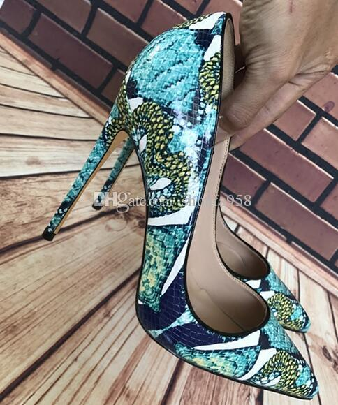 2019 Fashion Green Snake Skin Pattern Leather High-heeled Women Red Bottom iron heel Dress Shoes Pointed Fashion Party High Heel Pumps 12cm