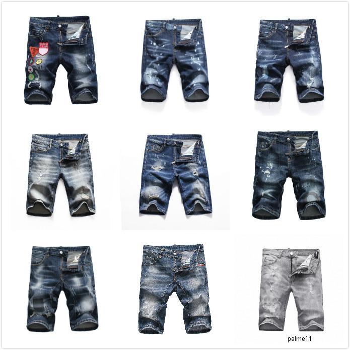 dsquared2 jeans ds2 QSQ Dsquared2 الرجل مصمم الجينز القصير الثقوب على التوالي الجينز الضيق جان عارضة ملهى ليلي القطن الأزرق الصيف السراويل الرجال ترفيه أسلوب حار بيع DHJ1