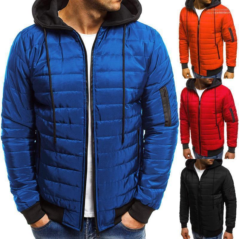 Katı Renk Kapşonlu Erkek Dış Giyim Uzun Kollu İnce Genç Coats Kalın Erkek Tasarımcı ceketler