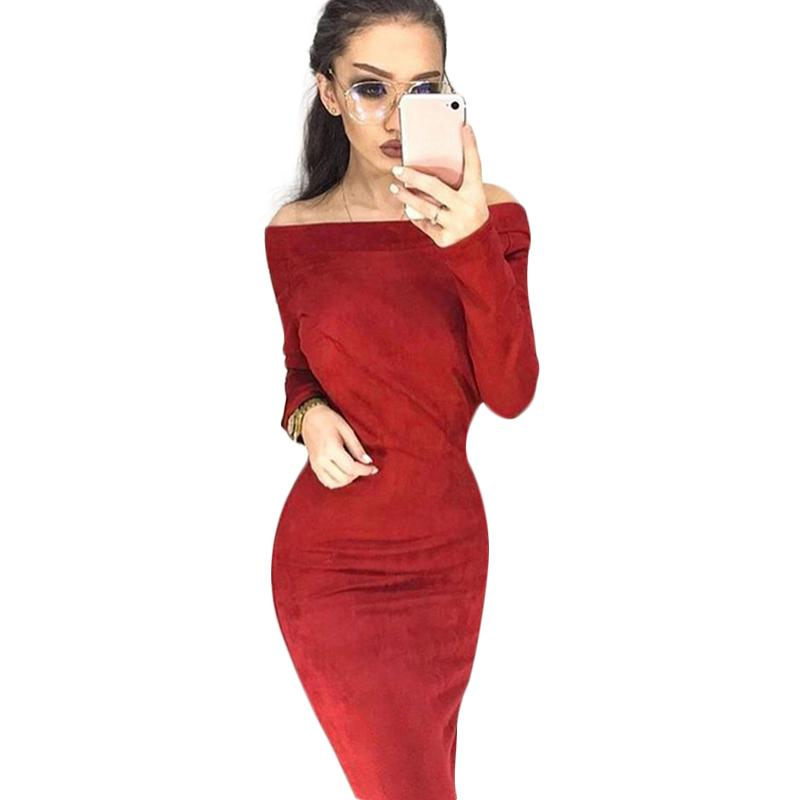 Sexy Women Off Shoulder Sheath Winter Dress Solid Color Slash Neck Long Sleeves Autumn Casual Nightclub Party Bodycon Midi Dress