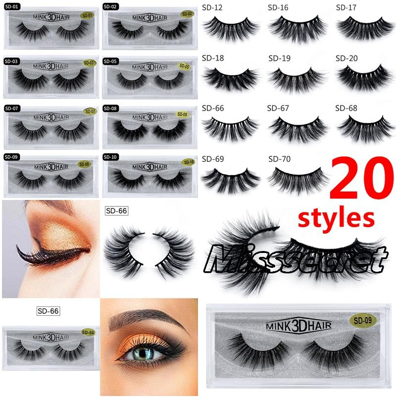 20 stili trucco 3D visone cigli dell'occhio visone Ciglia finte morbida spessi naturali falso dei cigli Eye 3D Ciglia Extension visone ciglia DHL