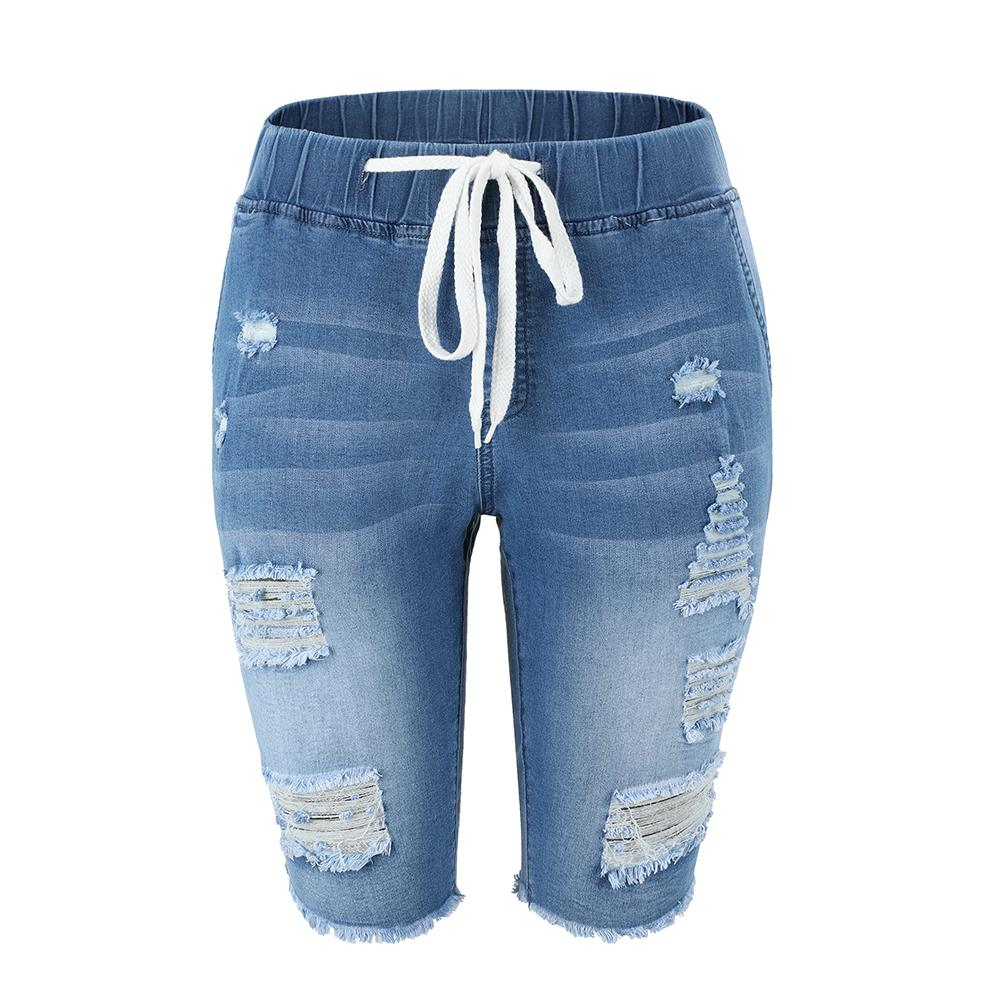 Summer Denim Ripped Bermuda Shorts Women Blue Drawstring Closure Distressed Knee Length Stretch Short Jeans MX200407