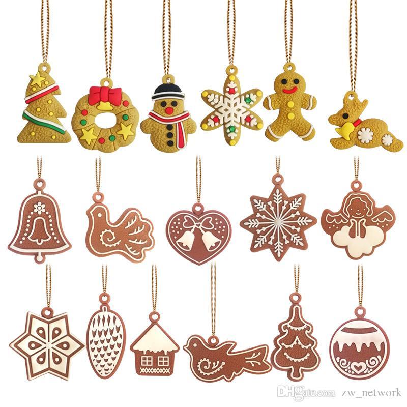 Lebkuchen-Mann-Weihnachtsbaum-Anhänger Wind Chime Vogel Engel Weihnachtsbaum hängen Ornament mit goldenen Seil PVC Craft Weihnachtsdeko