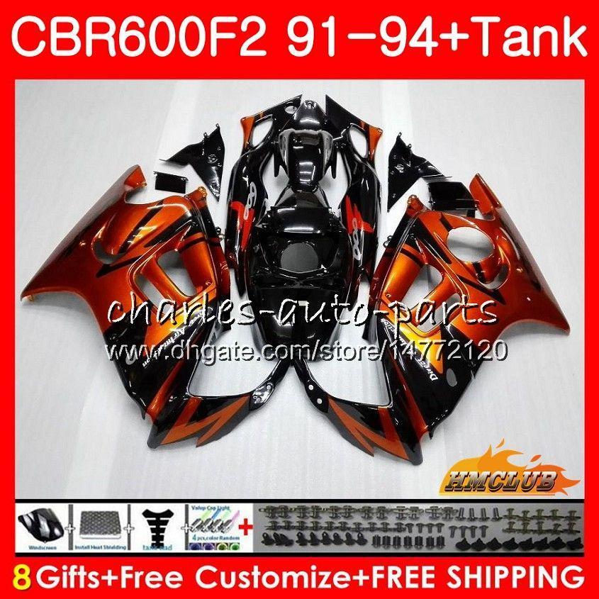 Honda CBR 600F2 CBR 600 FS 1991 1992 1993 1994 40HC.136 CBR600FS 600cc CBR600 F2 CBR600F2 F2 91 92 93 94 Laminer akış açık turuncu için Gövde + tank