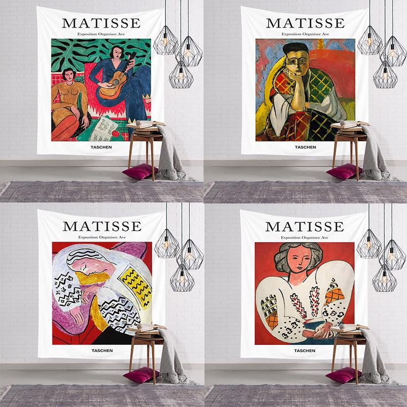 2020 New Fashion Polyester Bedside Wall Hanging Tapestry Matisse Oil Painting Tapestry Landscrit Home Decorative Wall Toga Mats