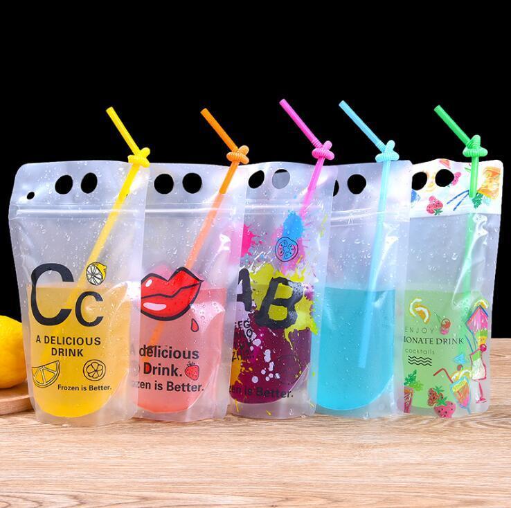 서리로 덥은 음료 파우치 가방 지퍼 스탠드 업 플라스틱 플라스틱 마시는 가방 짚 홀더 회분식 우유 커피 주스 포장 가방 바 마시는