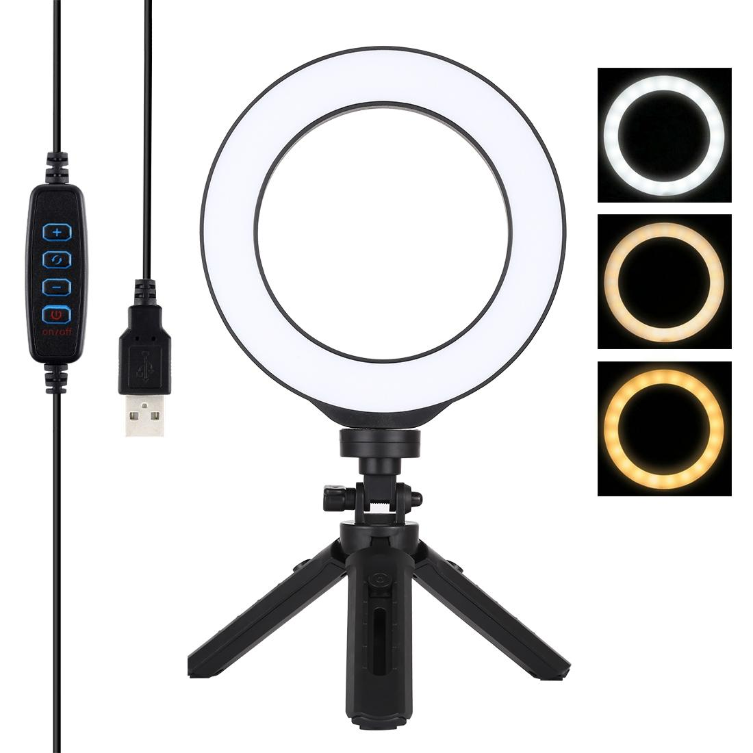 PULUZ 6.2 inch 16cm USB3 Modes Dimmable LED Ring Vlogging Photography Video Lights + Pocket Tripod Mount Kit with Cold Shoe Tripod Ball Head