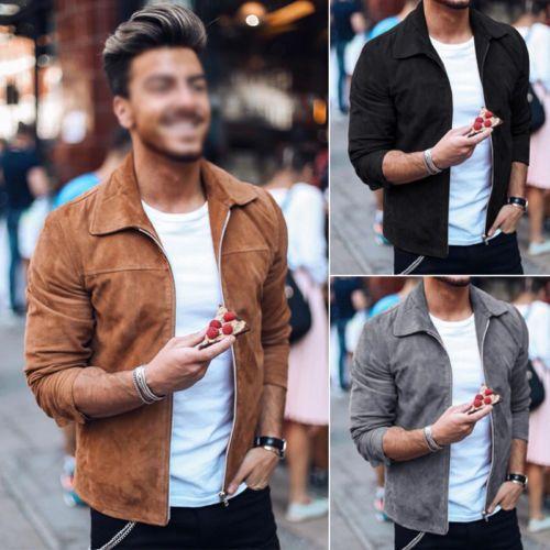 Ceket Yukarı Şık Erkek Sonbahar Kış Sıcak Zip 2019 Yeni Katı Fermuar İnce Dış Giyim Casual Kaban Üst Palto M-3XL