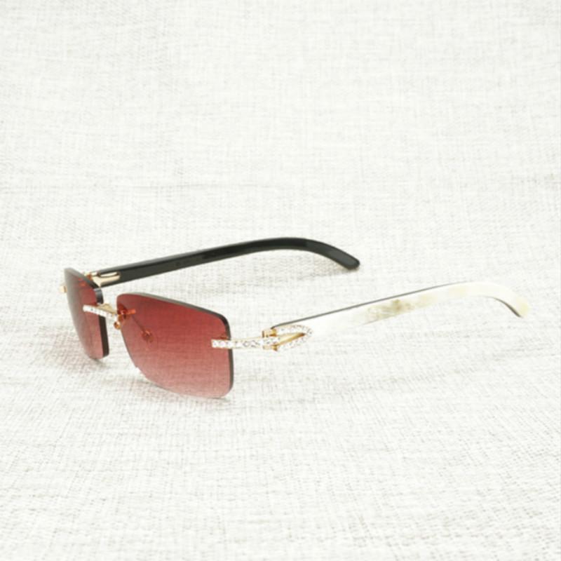 Vintage Rhinestone Doğal Buffalo Boynuz Çerçevesiz Güneş Erkekler Ahşap Kare Güneş Gözlükleri Kadınlar Için Açık Shades Oculos Gözlük