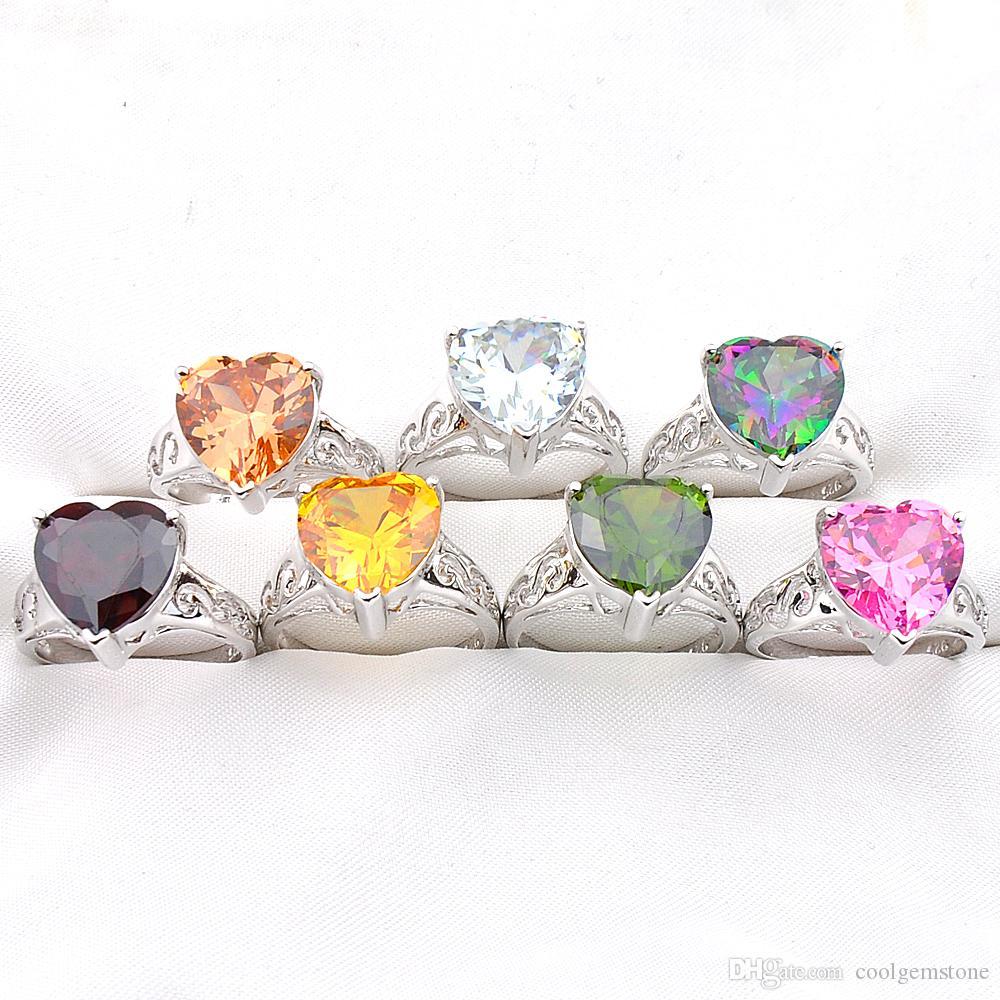 Großhandel Mix Farbe 10 Teile / los Valentinstag Geschenk Schmuck Liebe Herz Topaz Zirkonia Edelstein 925 Silber Überzogene Mode Frauen Ring