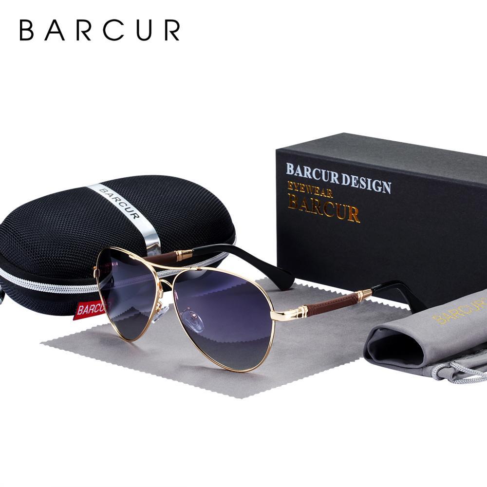 BARCUR haute qualité TR90 Lunettes De Soleil Polarisées Hommes Lunettes De Soleil Femmes pilote UV400 Miroir Oculos De sol y200415