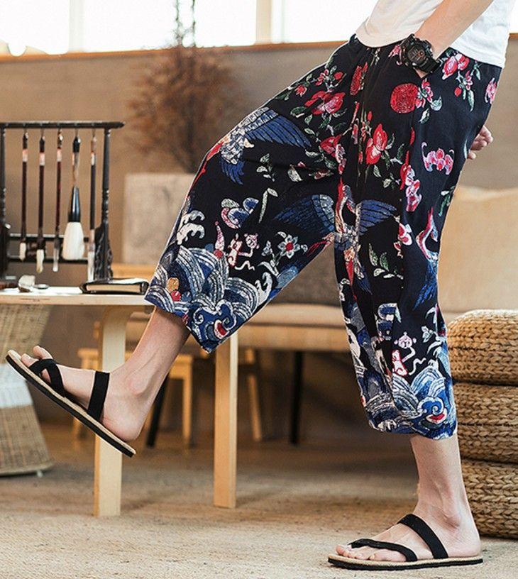 2019 designer mens kleidung neue strand hosen lose geerntete hosen jogger männer neue mode leinen pluderhosen lange gedruckt hosen männer hosen