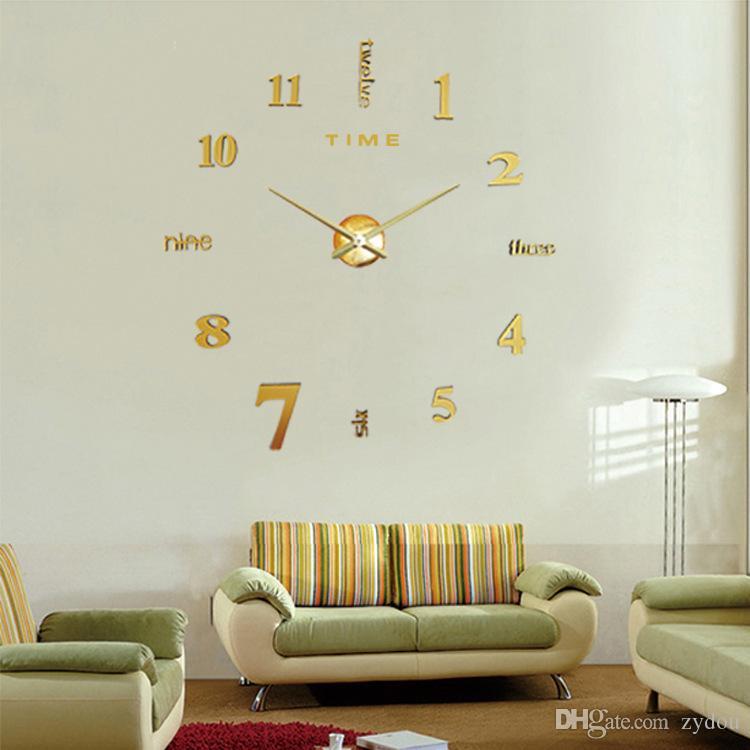 성격 디자이너 크리 에이 티브 홈 미러 아크릴 벽 시계 거실 장식 침실 벽 스티커 DIY 음소거 시계