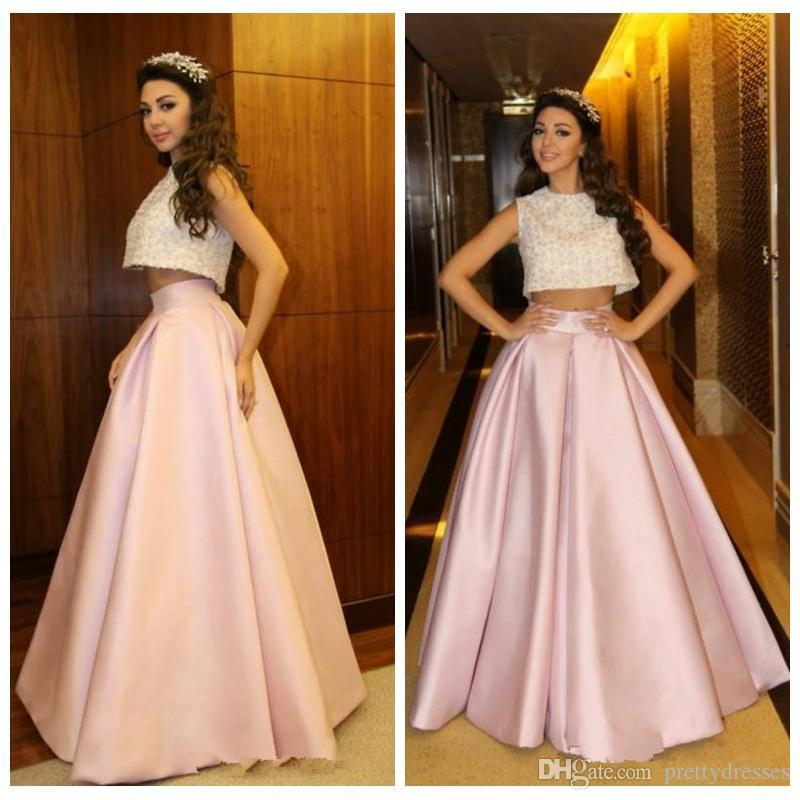 2020 Fabulous Two Piece Prom Dresses Myriam Fares Elegant Floor Length Prom Dresses Lace Appliques Special Occasion Dresses robes de soirée