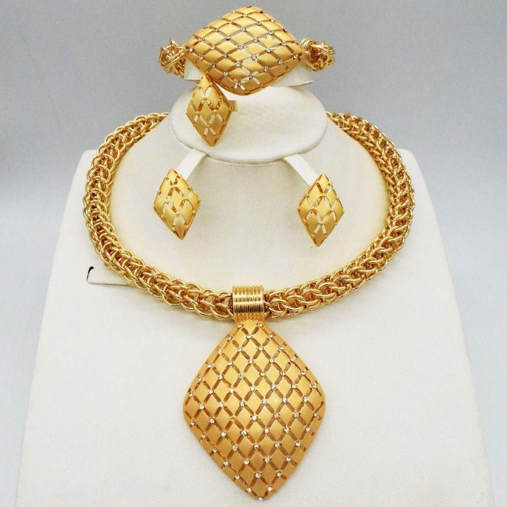 2018 Mode Nigéria Dubaï Mariage de perles dorées Ensemble de perles africaines Ensembles de bijoux J 190513