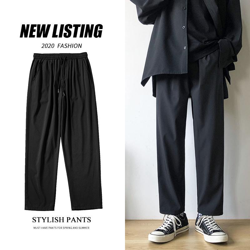 Verão preta fina calças Casual Moda Negócios do vestido Casual as calças dos homens Men Streetwear solto Cordão reta calças M-5XL