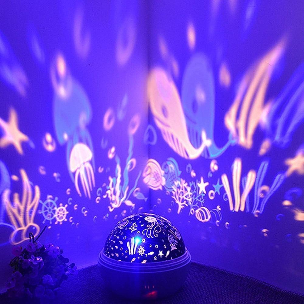 8 Colors Rotating Star Projector Light Luminaria Ocean Night Sleeping Nursery Lamp For Baby Kids Christmas Gift Q190611