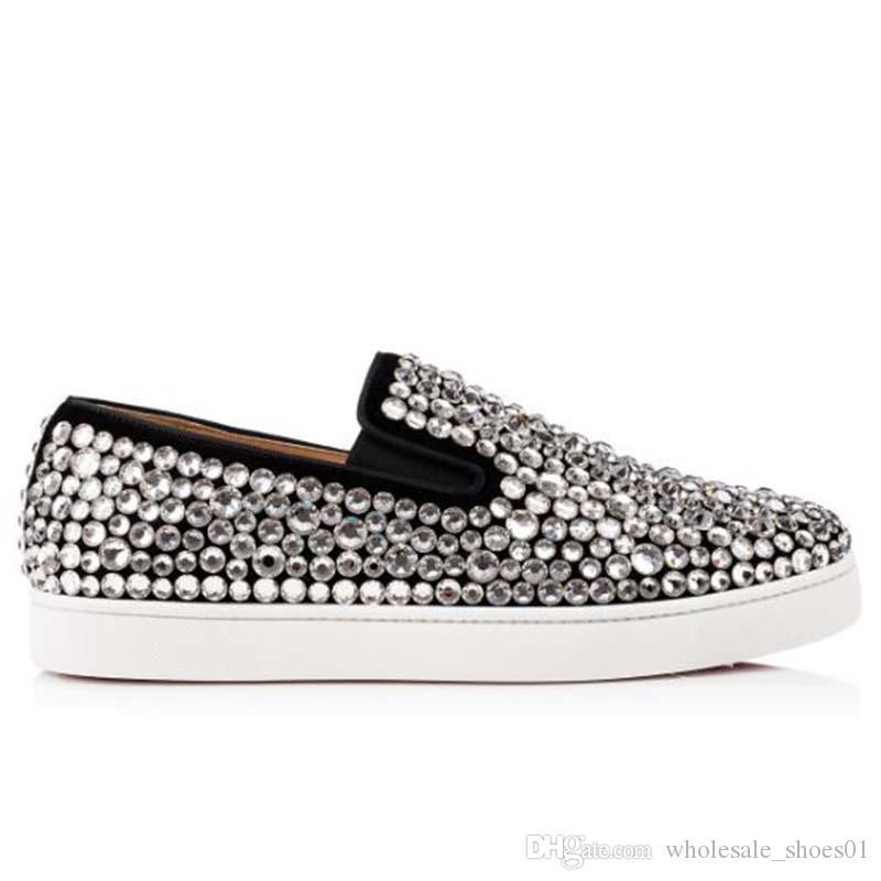 sapato de fundo vermelho cravejado Spikes Flats Casual para Mulheres do partido dos homens amantes Glitter de couro genuíno calçados casuais das sapatilhas 35-47 O11