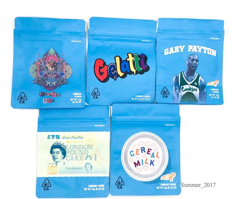 3.5 그램 쿠키 가방 포장 가방 증명 Childproof 캘리포니아 냄새 치타 오줌 Gelatti 게리 페이튼 런던 파운드 케이크 시리얼 우유