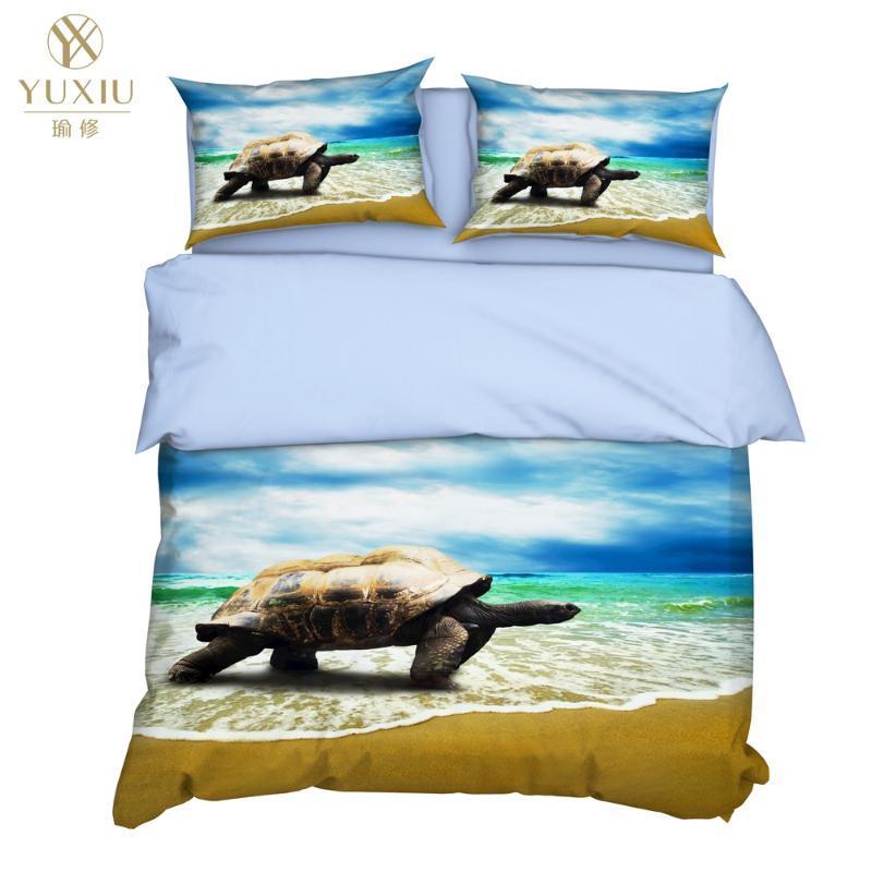 Yuxiu 3D Literie de tortue de mer Housses de couette 3Pcs Ensembles Linge de lit Housse de couette Roi Reine pleine Double Double Taille