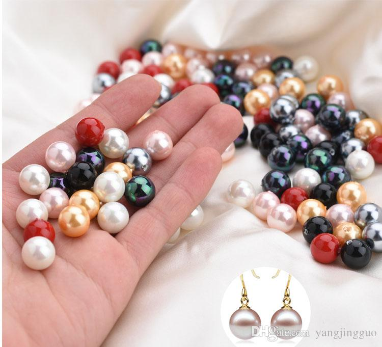 100pcs manufacturer provides nanyang deep-sea shell pearl color half-hole shell pearl diy jewelry accessories free delivery