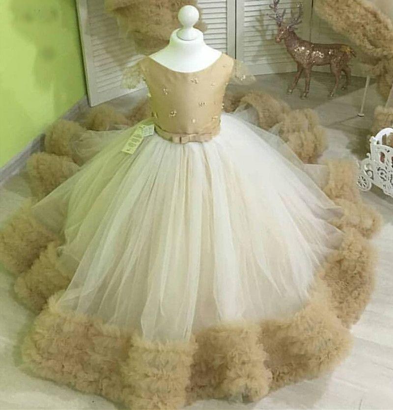 Şampanya ve Beyaz Kız Bebek doğum günü partisi Elbise fırfır Çocuk Güzellik Yarışması Çiçek Kız Elbise primera comunion
