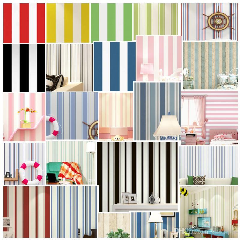 현대 미니멀 검정과 흰색 세로 줄무늬 벽지 지중해 블루 벽지 노란색, 녹색, 레드, 핑크 침실 거실 아이