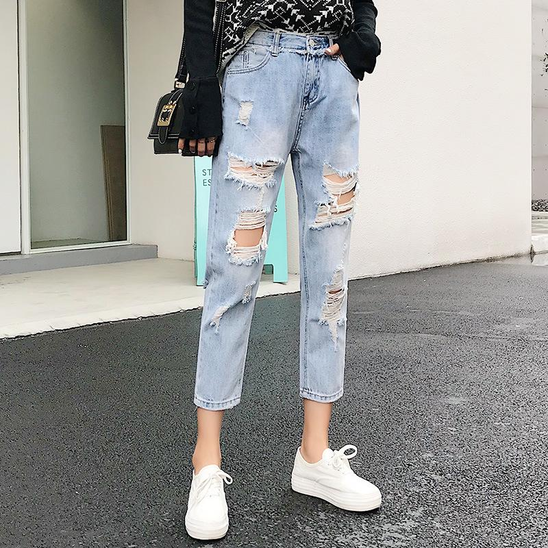 Compre Pantalones Vaqueros Rasgados Para Las Mujeres Azul Flojo De La Vendimia Mujer Manera De Las Mujeres De Cintura Alta Nuevo Estilo Holgado Mom Jeans Mujer Pantalones Vaqueros Ocasionales A 16 86