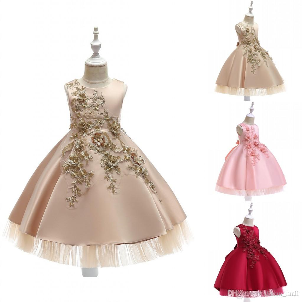 Lace Flower Girl Dress Sleeveless Princess Formal Perform Birthday Party Tutu Gowns Children Clothes