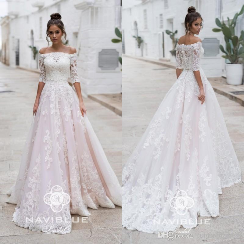 2020 Naviblue Baby Pink Half Sleeves Wedding Dresses With Removable Jacket Bridal Dress Lace Applique Plus Size Wedding Gowns