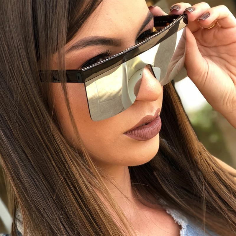 الجملة جديد المتضخم ساحة نظارات شمسية النساء الرجال قطعة واحدة أسود عدسة نظارات الشمس عشاق نظارات السفر الملحقات uv400