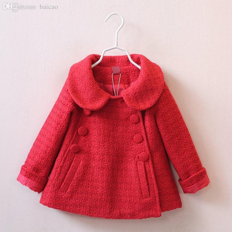 Abrigos de invierno de lana al por mayor para niñas Nuevas chaquetas de algodón para niños de otoño Chaquetas de moda para bebés Peter Pan Outwear