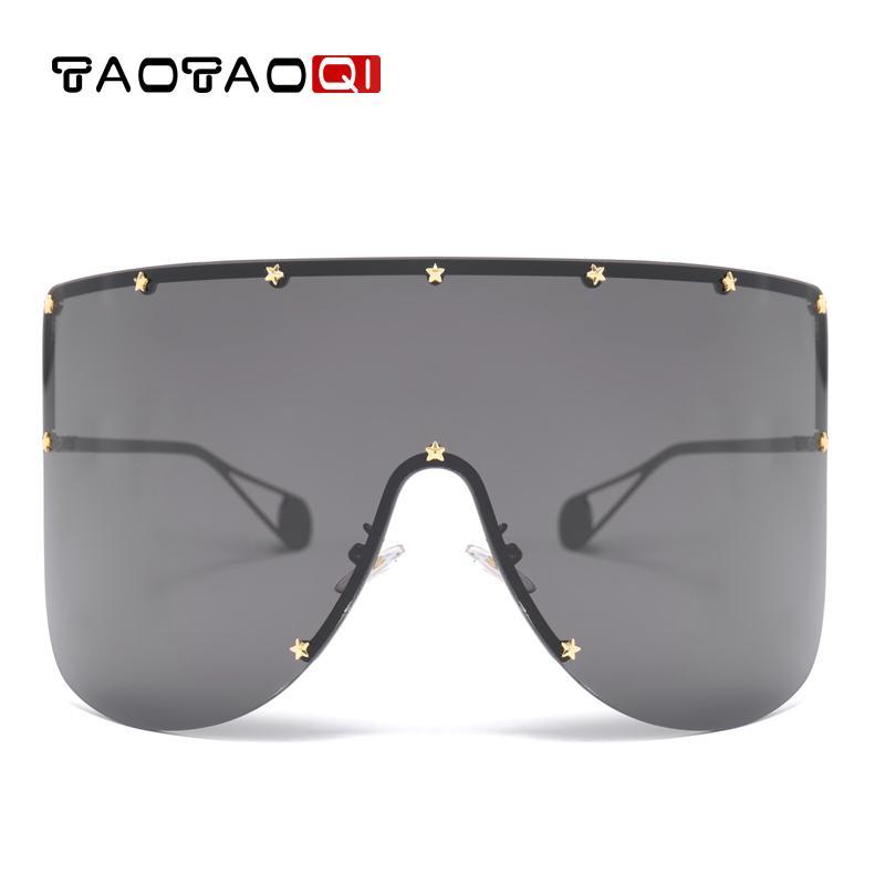 TAOTAOQI surdimensionné Métal Lunettes de soleil Femmes Hommes Rivet Lunettes de soleil Femme UV400 Lunettes Vintage Oculos