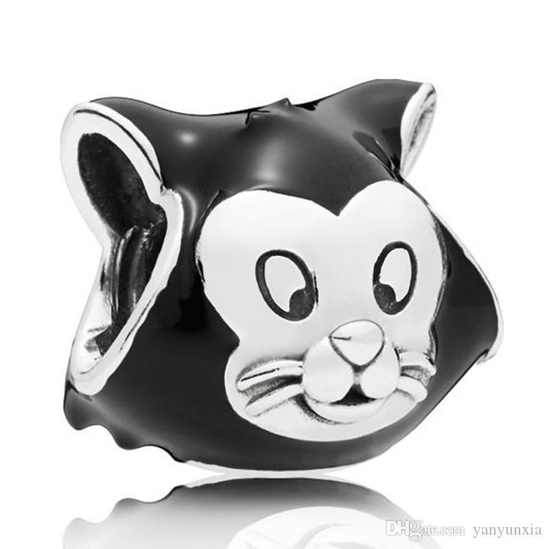 الأصلي المجوهرات 925 فضة الحيوان سحر الخرزة المينا الأسود الحلو فيجارو القط الخرز صالح سوار قلادة اليدويه
